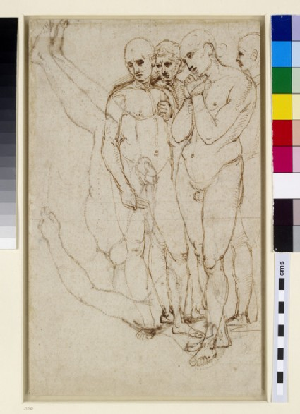 Recto: Study of four standing Men in a Pietà