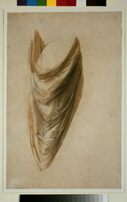 Recto: Study of Drapery for a standing Figure (Study for the Disputa)<br />Verso (partly visible): Study of a putto