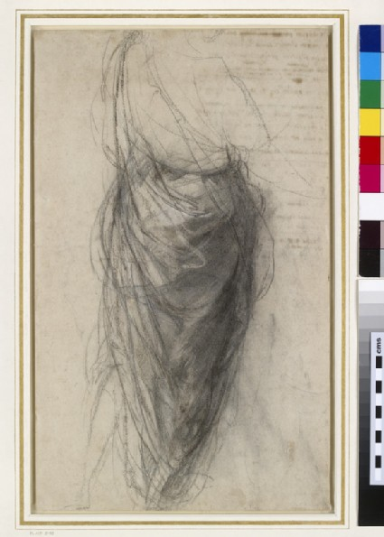 Recto: Study for the Drapery of a Man in back view (Study for the Disputa)<br />Verso: Figure Studies and a draft sonnet