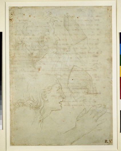 Recto: Studies of heads and of a hand 
