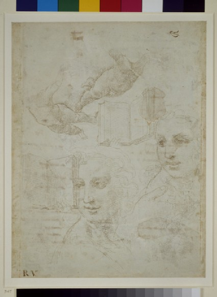Recto: Two Heads and other Studies<br />Verso: Rough draft of the Sonnet 'Come non podde dir'