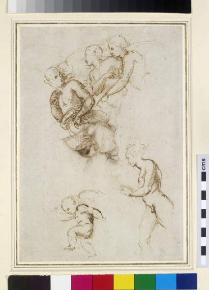 Recto: Studies for a Group of flying Angels<br />Verso: Study of the Garment of an Angel