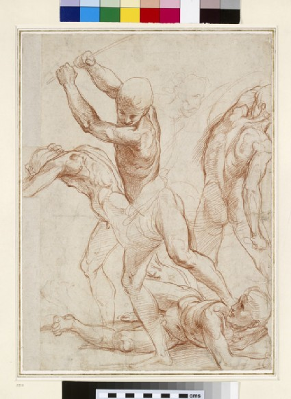 Recto: Combat of five men 