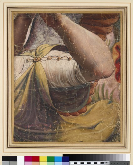 The raised right Arm and adjacent Draperies of the flying Angel on the extreme right of the upper Corner of the Adoration of the Shepherds Tapestry