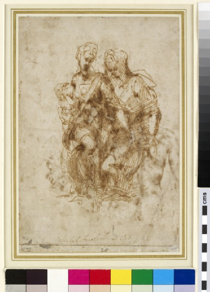 Recto: The Virgin and Child with St Anne<br />Verso: Various Figure Studies