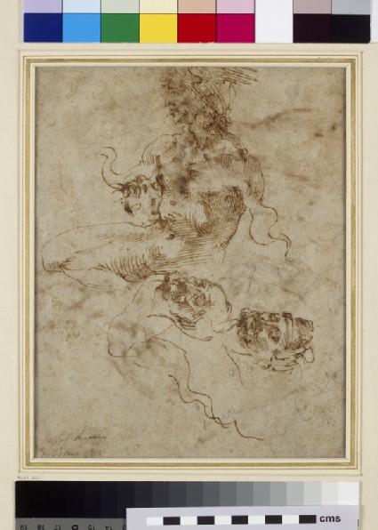 Recto: A Figure resembling a Triton<br />Verso: Nude Studies