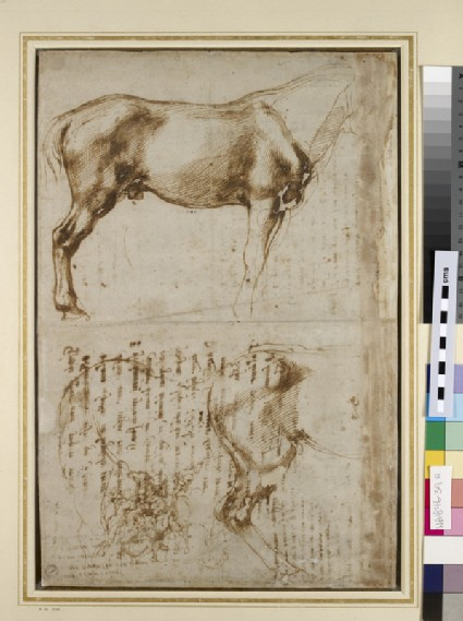 Recto: Studies of a Horse and of a Horseman attacking Foot-soldiers