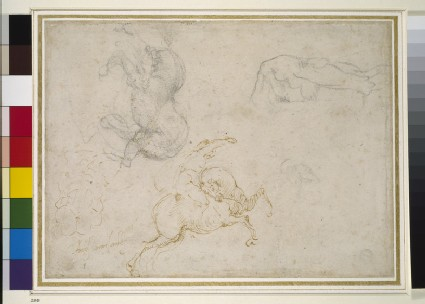 A horseman charging and other studies, possible study for the Battle of Cascina