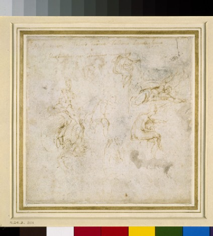 Recto: Eight Figure Studies<br />Verso: Figure Study