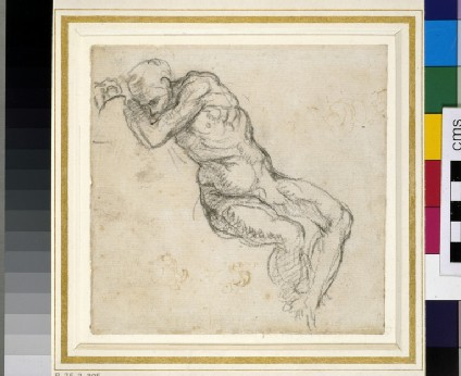 Recto: Sketchbook sheet for the Ancestors of Christ in the Sistine Ceiling: sleeping figure<br />Verso: Study of a woman and child