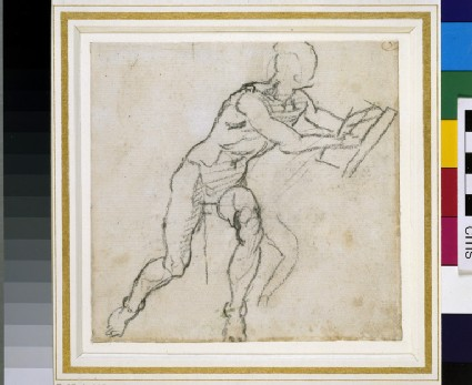 Recto: Sketchbook sheet for the Ancestors of Christ in the Sistine Ceiling: man with a book  <br />Verso: Two very slight sketches of seated Figures
