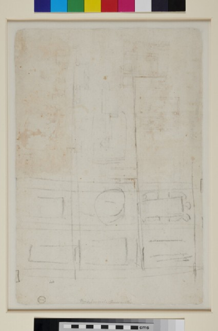 Recto: Elevation and Plans for a Double Medici Tomb