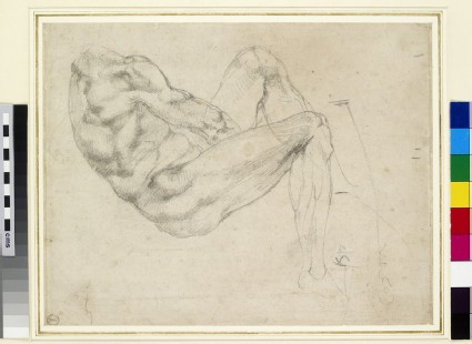 Recto: Study of a recumbent male figure<br />Verso: Study of arms