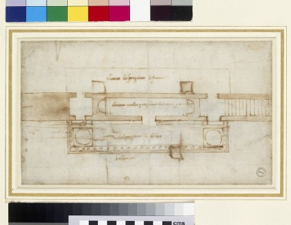 Recto: Plan for the reliquary tribune and exterior balcony in the Basilica of San Lorenzo <br />Verso: Figure of Christ rising from the Tomb