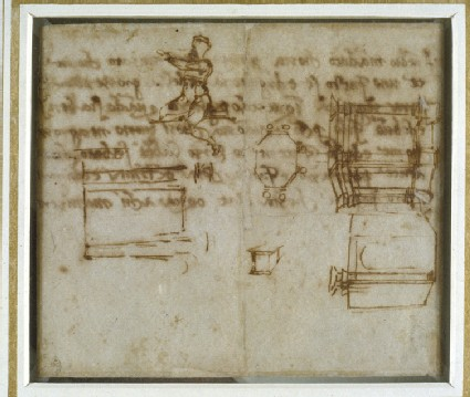 Recto: Slight Sketches of Architecture and a small Figure Study<br />Verso: Fragment of a Letter