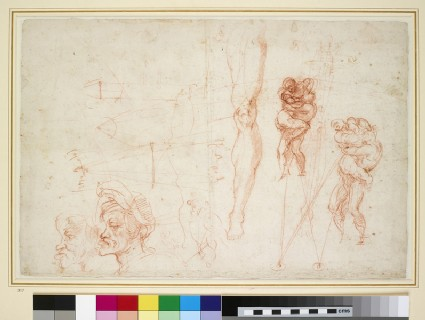 Recto: Hercules and Antaeus and other Studies<br />Verso: Miscellaneous Sketches and a Poem