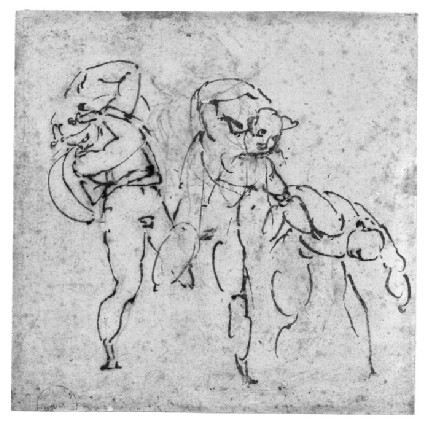 Three Figures in violent movement