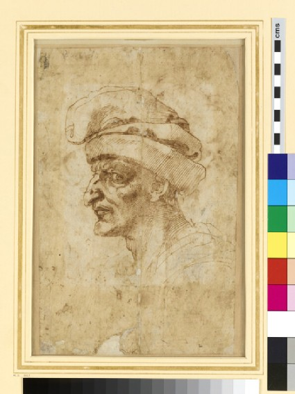 Recto: Head of a Man in Middle Age<br />Verso: Two male Figures