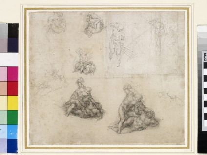 Recto: Studies for David and Goliath and for Christ in the Expulsion of the Merchants from the Temple<br />Verso: Anatomical Study of a Leg, and very slight Figure Studies