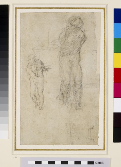 Recto: Sketches of two Male Figures<br />Verso: Architectural sketch