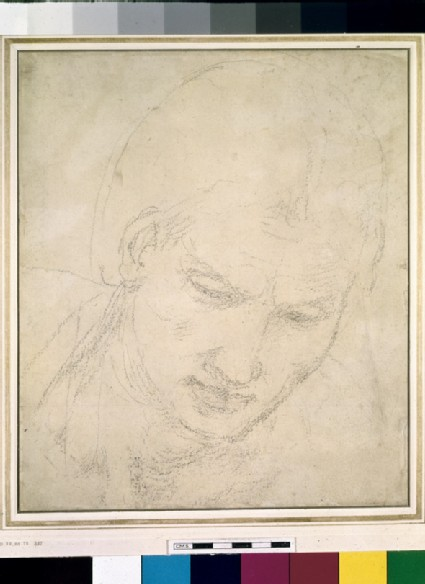 Recto: Study of a Head<br />Verso: Studies of Architectural Details and a grotesque Mask