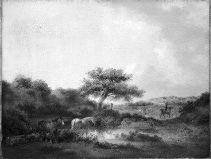 Landscape with Huntsmen and Hounds