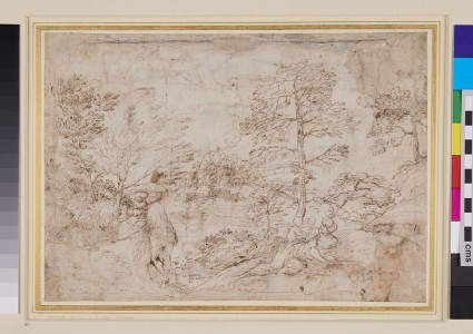 Recto: Landscape with Figures<br />Verso: Studies of Feet in different positions, and of a young Man's Head