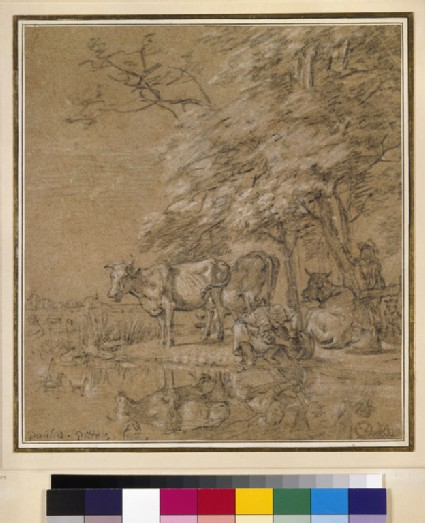 Figures and Cattle beside a River
