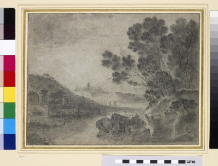Landscape with a river and antique ruins