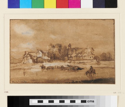 House near a River, with Horses watering