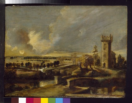 Landscape with a Tower at Het Steen at Sunset