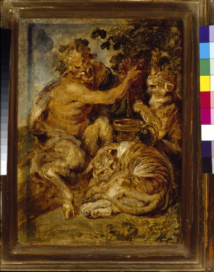 A Satyr pressing Grapes with a Tiger and Leopard