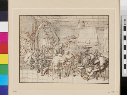 A crowded Alehouse with a Man playing a Flute