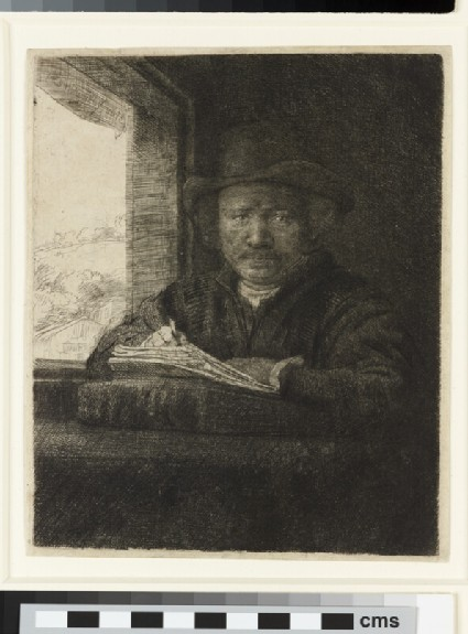 Self-portrait etching at a Window