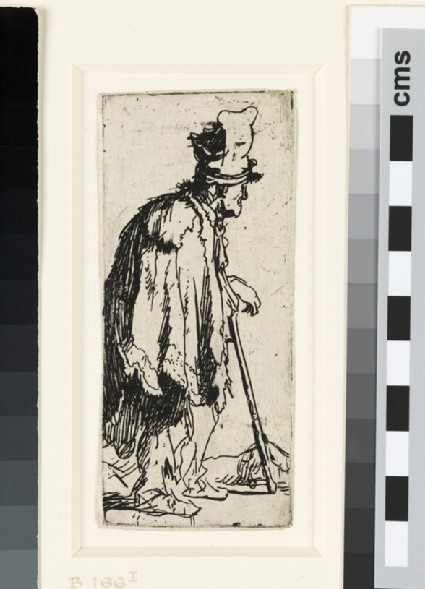 Beggar with a Crippled Hand leaning on a Stick