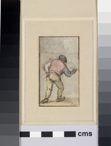 An old Peasant, carrying a Mug and Pipe, seen from the back walking away