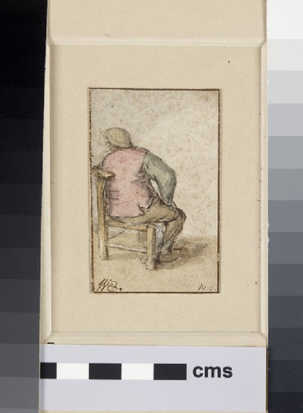 A Peasant, seen from the back, seated in a Chair, his Head turned to left