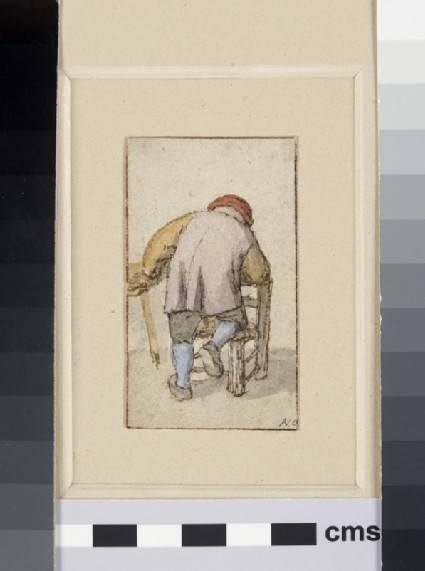 A Peasant, seen from the back, resting his Knee on a Chair and his left Hand on a Table