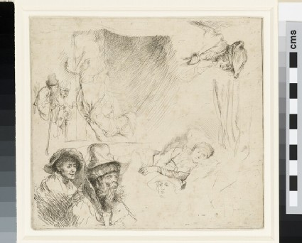 Sheet of Studies, with a Woman lying ill in Bed
