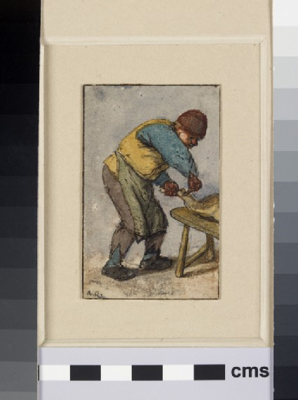 A Peasant, turned to right, stooping to cut up a Pig, partly visible on a Bench on right