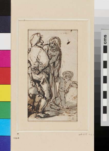 A tipsy Peasant, directed to right, chidden by a peasant Woman who leads a Child by the Hand