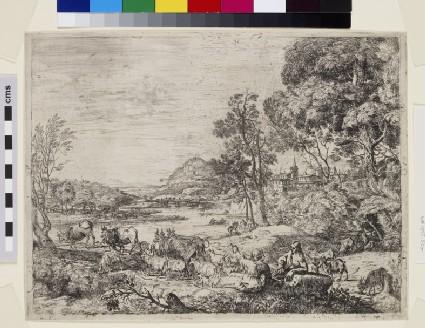 Berger et bergère conversant (Shepherd and shepherdess conversing in a landscape)