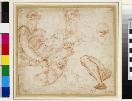 Recto: Studies of St John the Evangelist, a putto, and a leg<br />Verso: Studies of St Peter, two heads of a woman, an arm, and a heraldic device