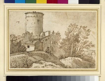 Recto: Farm buildings by the Tiber <br />verso: sketch of a profile head