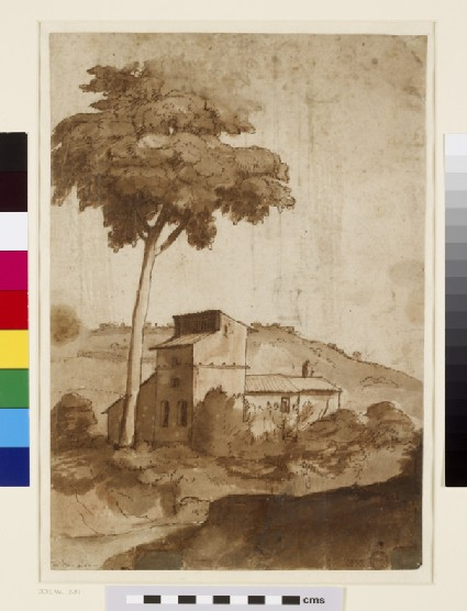 Recto: Farm buildings under a tall tree<br />Verso: View of a fortified wall with an arched entrance