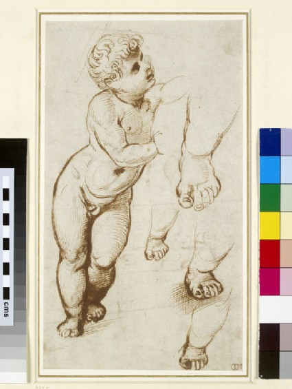 Recto: The Infant Christ and other Studies<br />Verso: Study of a Skeleton