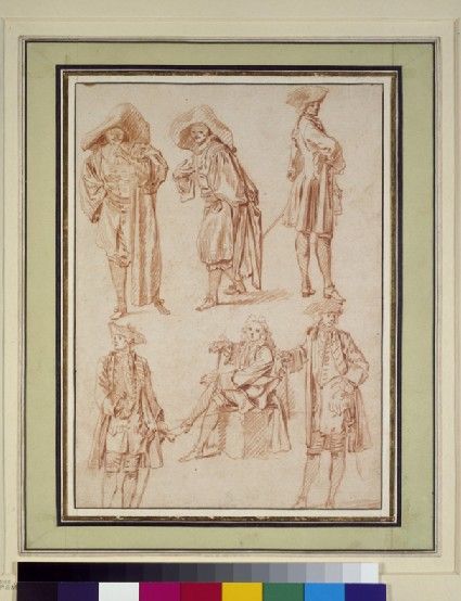 Two studies of the doctor in the Italian Comedy and four of officers, three standing, one seated