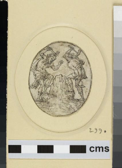 An oval depicting two bearded men striking a rock