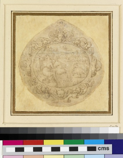 A design for a horizontal oval ornament depicting a landscape with a man fishing