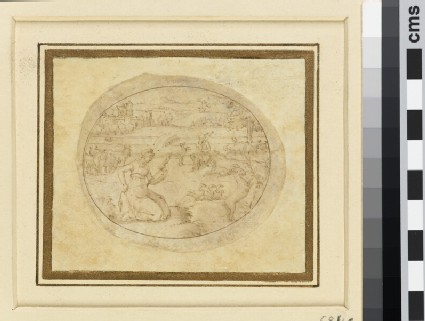 A horizontal oval depicting a kneeling woman with a distaff and a man playing bagpipes, in a river landscape